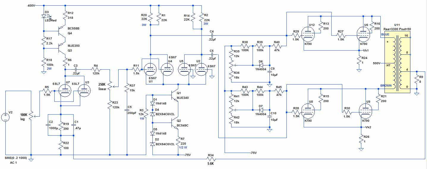 Kt90 Parallel Push Pull Power Amplifier In Addition Tube Schematic On 6sn7 Entireschematic